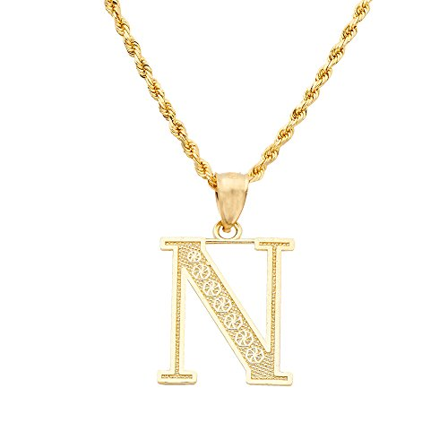 LoveBling 10K Yellow Gold Diamond Cut A to Z Alphabet Initial Letter Charm Necklace Pendant (Small) (N) ()