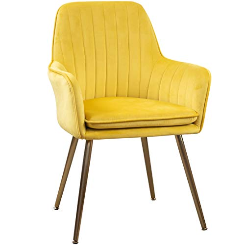 GOLDEN BEACH Elegant Velvet Dinning Chair Mid-Back Support Accent Arm Chair Modern Leisure Upholstered Chair with Gold Plating Legs (Yellow) (Yellow Chair Accent)