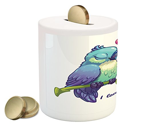 Ambesonne Animal Piggy Bank, Parrot Couple on the Branch with Heart Symbol Deep Intimate Mutual Feelings Art, Printed Ceramic Coin Bank Money Box for Cash Saving, Pink Teal (Mutual Art)