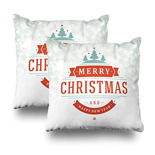 Alricc Set of 2 Christmas Light Greeting Card Invitation and Holidays Wishes Christmas Decorative Throw Pillows Cushion Cover for Bedroom Sofa Living Room 18X18 Inches