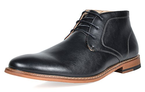 Bruno Marc Men's Marlon-H Black PU Leather Lined Dress Ankle Boots - 8.5 M - Boots By Marc Marc