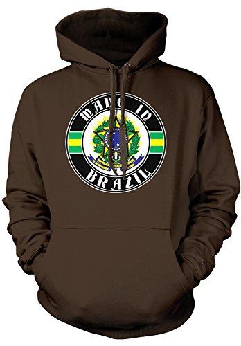 (Amdesco Men's Made in Brazil, Brazilian Coat of Arms Hooded Sweatshirt, Dark Chocolate 2XL)