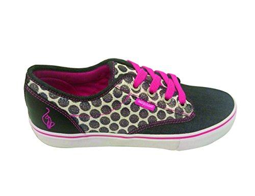 Baby Phat Womans Sneaker Slip-on Porter A Pois Chambray Nero / Fucsia