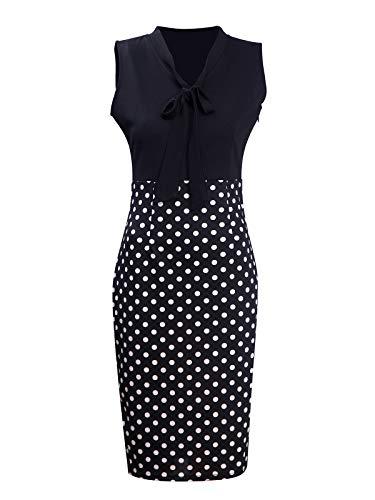 Womens Chic Color Block V Neck Sleeveless Business Pencil Dress Black Dot S
