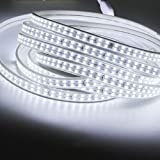 Zhangzhiming LED Strip Light Waterproof SMD 2835 AC220V LED Strip Flexible Light 16.4 Ft (5M) 156leds/m LED Tape Light with Power Plug for Boats, Bathroom, Mirror, Ceiling and Outdoor (White)