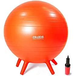 """WALIKI TOYS Children's Chair Ball with Feet, Alternative Classroom Seating (Inflatable Balance Ball Chair With Stability Legs for School, Pump Included, 18""""/45CM, Orange)"""