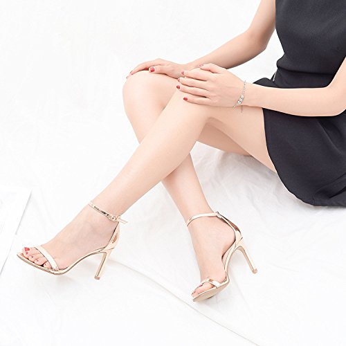 Talons ZXCB Boucle Toe Court There Chaussures Femmes Escarpins Hauts Party Ankle Peep Gold Robe Strap Barely 4qqTEa