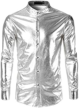 IYFBXl Camisa Chic/Punk y gótica callejera para Hombre - Patchwork de Color sólido, Plata, S: Amazon.es: Deportes y aire libre