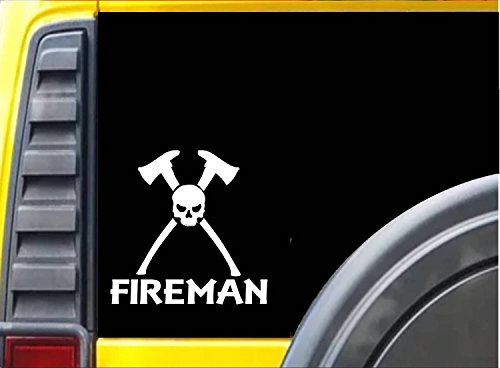 Fireman Skull K328 6 inch decal Maltese cross ax hydrant sticker