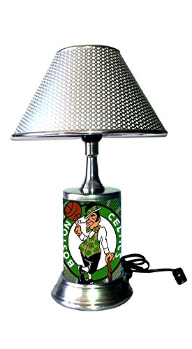 Rico Table Lamp with Chrome Colored Shade, Boston Celtics Lamp with Chrome Colored Shade