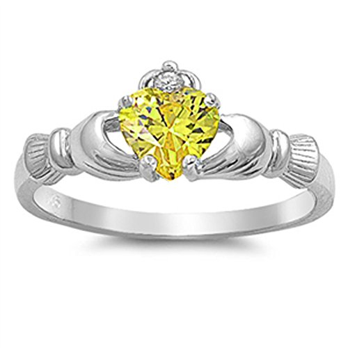 - Yellow Simulated CZ Claddagh Statement Unique Ring New 925 Sterling Silver Band Size 7