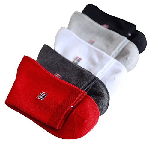X&F Mens' Breathable Solid Mid-Cut Ankle Socks Cotton Crew Socks(Pack of 5), Assorted Color