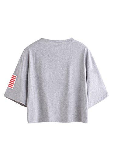 c2e8e386a84ce SweatyRocks Women s Letter Print Crop Tops Summer Short Sleeve T ...