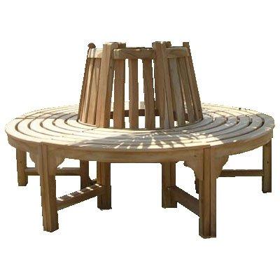 Trendy-Home24 komplette volle Baumbank aus Teakholz Massivholz Holzbank Gartenbank ca. 150 cm breit Teakholz Rundbank