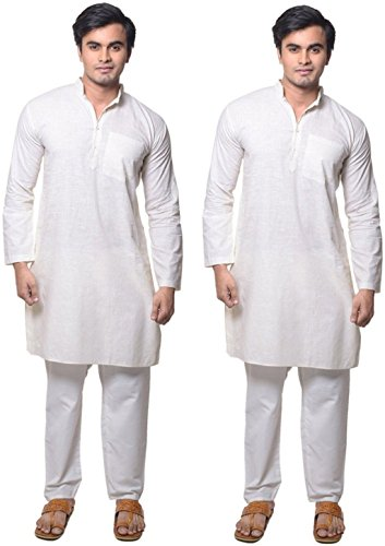 Ruchi Mart Set Of 2 Bollywood Ethnic Cotton Kurta Pajama Men's Diwali Special White Dress by Ruchi Mart