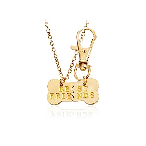 Dog Bone Best Friends Necklace Keychain BFF Friendship Necklace Keychain Jewelry Dog Gift for Lover Couple Friends Set of 2