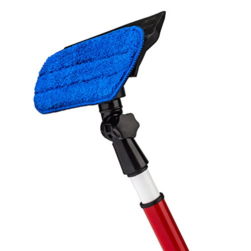 Price comparison product image RAVMAG 2 in 1 Telescoping Window Washing Tool with Microfiber Cloth and Rubber Squeegee,  5-Feet Pole