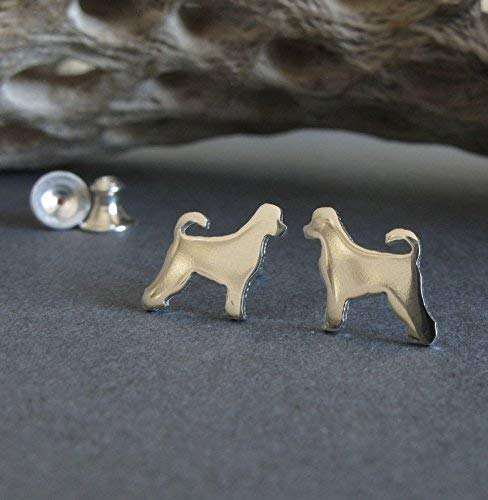 (Portuguese water dog tiny stud earrings polished sterling silver. Handmade in the USA.)