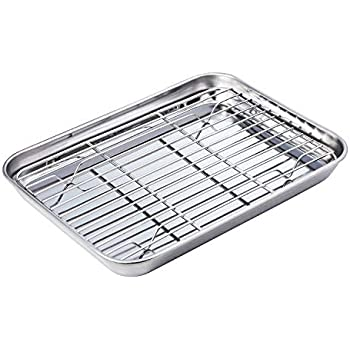 WEZVIX Stainless Steel Baking Sheet with Nonstick Cooling Rack Set 10 × 8 × 1 inch Silver