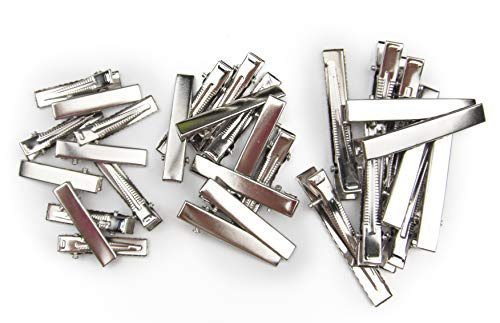 ALL in ONE DIY Hair Clip Kit: Assorted Size Flat Single Prong Metal Alligator Clip 33mm 40mm 58mm (30pcs)]()