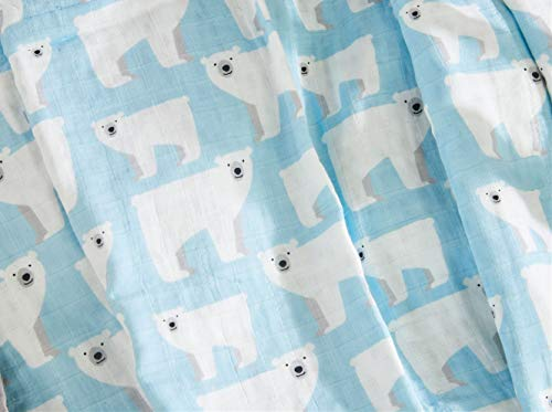 Cozyholy Fancy Design 100% Cotton Baby Muslin Swaddle Blankets Swaddle Wrap Receiving Blanket, Stroller Cover Baby Bath Towels (Polar Bear, 47×47 inch)