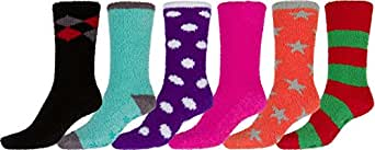 Sakkas 16802-pack1 Super Soft Anti-Slip Fuzzy Crew Socks Value Assorted 6-Pack