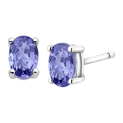1 ct Natural Tanzanite Oval Stud Earrings in Sterling Silver by Finecraft