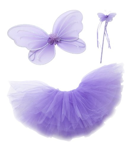 Purple Fairy Princess Tutu Wing Wand Set For Girls Dress up