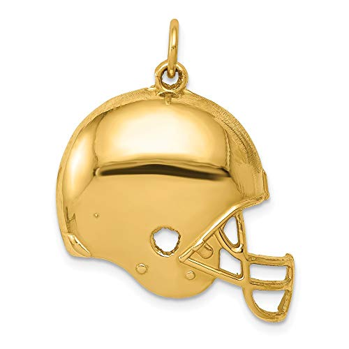 14k Yellow Gold Football Helmet Pendant Charm Necklace Sport Nfl Mlb Man Fine Jewelry Gift For Dad Mens For Him ()