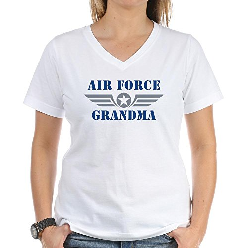 CafePress Air Force Grandma Women's V-Neck T-Shirt Womens Cotton V-Neck T-Shirt White
