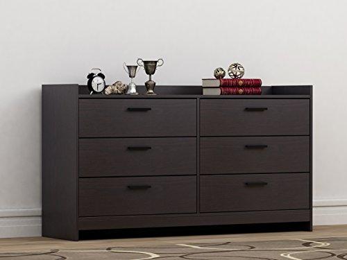 Homestar EB208752B9 Central Park 6 Drawer Dresser, 15.98 x 54.37 x 30, Black Brown ()