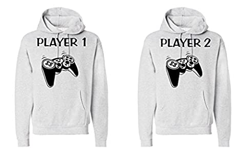 FASCIINO Matching His & Hers Couple Hoodie Sweatshirt Set - Player 1 and Player 2 Gamer ( Large/ Large (Hers And His Crewneck)