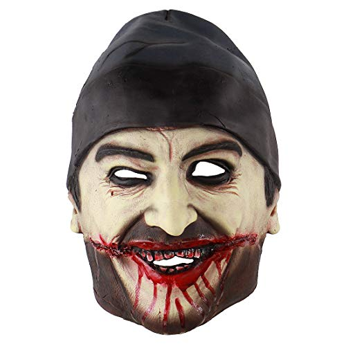 Hophen Bloody Zombie Mask Halloween Cosplay Scary Creepy Man with Hat Masks for Masquerade Parties -