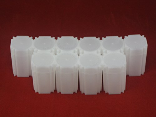 (10) Coinsafe Brand Square White Plastic (Medallion) Size Coin Storage Tube Holders
