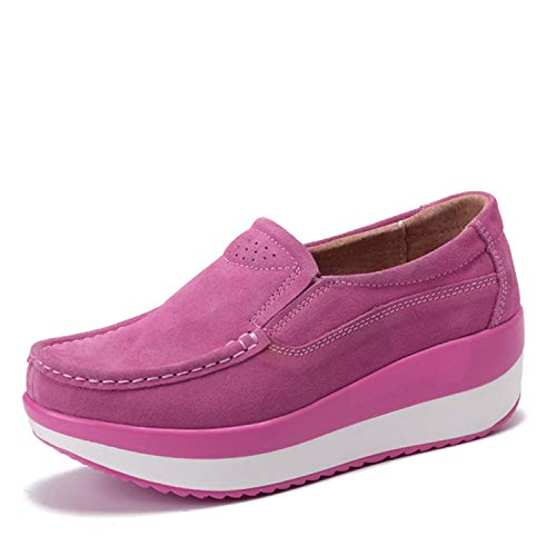 Women Flats Platform Loafers Ladies Elegant Genuine Leather Moccasins Shoes Woman Autumn Slip On Casual Women's Shoes,Pink,9.5