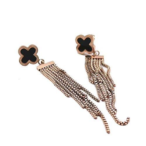 Baoli Titanium Steel Rose Gold Black Round Heart Clover Shape Tassel Dangle Earrings ()