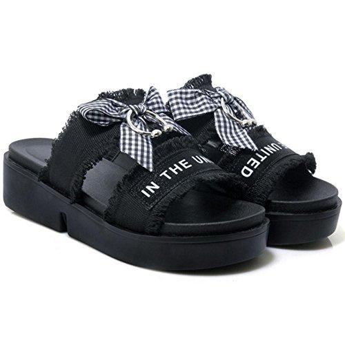 Plateforme Plage Chaussures Sandales Compensées Noir Coolcept Confort Été Pantoufle Femmes 8ZRTqqIWX