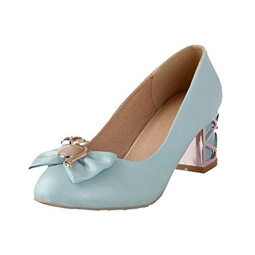 Allhqfashion Dames Ronde Gesloten Teen Pull-on Pu Stevige Kitten-hakken Pumps-schoenen Blauw