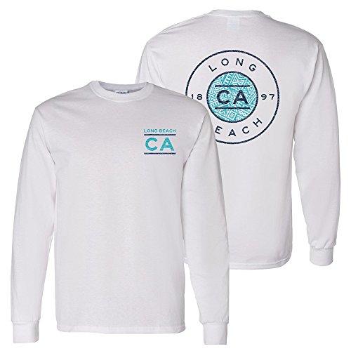 (UGP Campus Apparel Long Beach Resort Circle Stamp - California Vacation Long Sleeve T Shirt - 2X-Large - White)