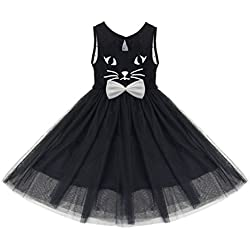 MMBeauty Girls Kids Princess Wedding Pageant Mesh Cat Bowknot Holiday Party Dress (120(5-6Years))