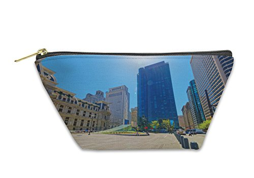 Gear New Accessory Zipper Pouch, Penn Square With Philadelphia City Hall And Skyline Of Skyscrape, Large, - Penn Square Stores