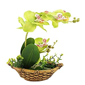 GLOGLOW Artificial Potted Flower Simulation Butterfly Orchid Home Office Decor 5
