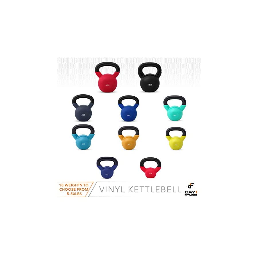 Kettlebell Weights Vinyl Coated Iron by Day 1 Fitness 10 Sizes Available, 5 50 Pounds Coated For Floor and Equipment Protection, Noise Reduction Free Weights For Ballistic, Core, Weight Training