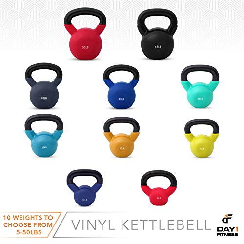 Day 1 Fitness Kettlebell Weights Vinyl Coated Iron 50 Pounds - Coated for Floor and Equipment Protection, Noise Reduction - Free Weights for Ballistic, Core, Weight Training by Day 1 Fitness (Image #7)