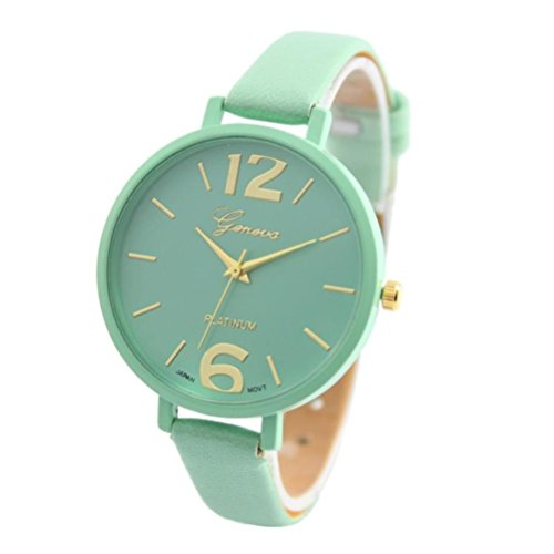 Oliviavan, Geneva Women Faux Leather Analog Quartz Wrist Watch Oversize Number (Mint Green) (Mint Leather Bangle)