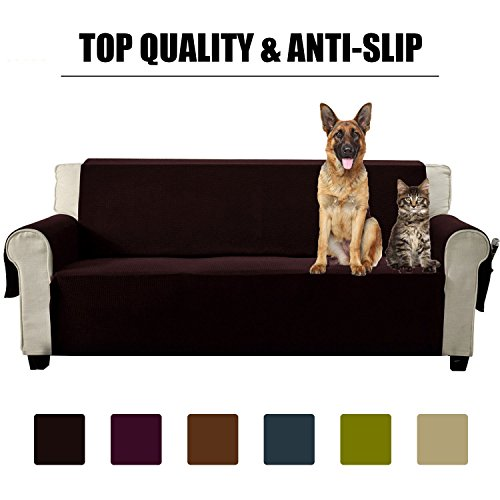 Aidear Anti-Slip Sofa Slipcovers Jacquard Fabric Pet Dog Couch Covers Protectors (Sofa: Oversized, Dark Brown) Brown Reclining Sofa