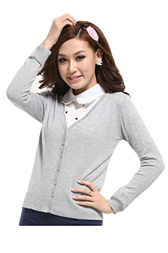 La Mujer Casual De Manga Larga Blusa Otoño Deep V Neck Sweater Cardigan Grey