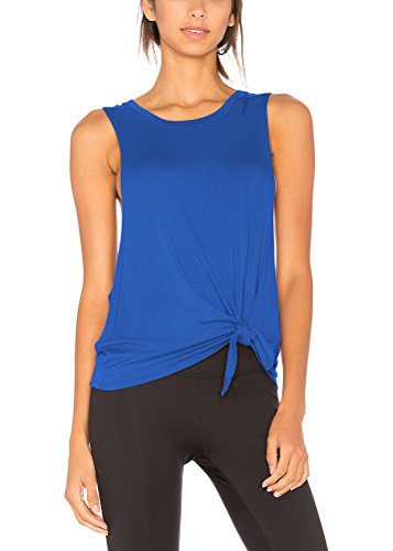 Mippo Women's Sexy Scoop Neck Workout Shirt Relaxed Sleeveless Loose Sport Gym Open Side Racer Back Tank Top Blue S - Racerback Tie