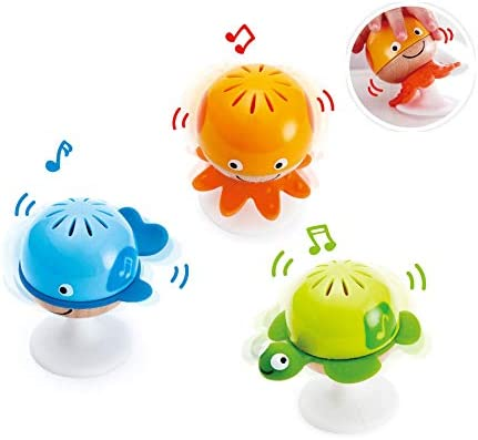 Hape Put-Stay Rattle Set & Penguin Musical Wobbler   Colorful Wobbling Melody Penguin, Roly Poly Toy for Kids 6 Months+, Multicolor, 5'' x 2'' (E0331)