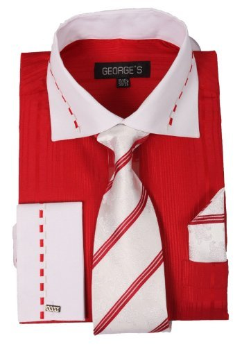 (George's Two-tone Shirts w/Matching Tie, Hanky & French Cuffs AH621-Red-15-15 1/2-34-35)